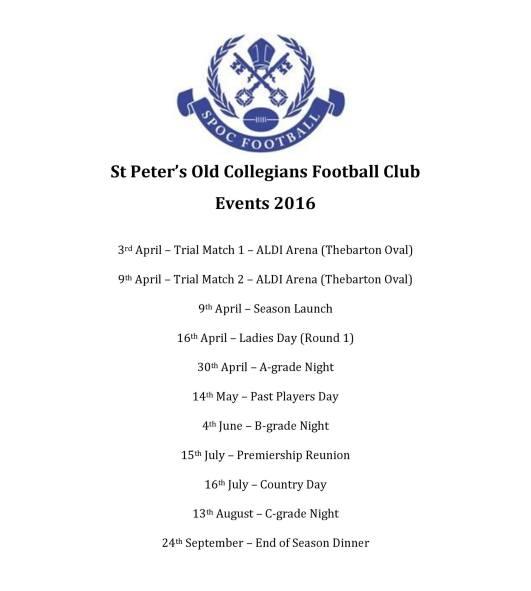 SPOC FC Social Calendar